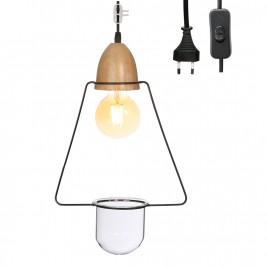 Lampe Suspension Végétale + Patère noire (dont 0.08€ eco-part)